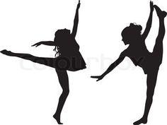 Dancing silhouettes children stock vector