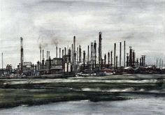 Shell Pernis, gezien uit het westen - Kemper, C. J. ( Charles )