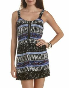 zip-front printed a-line dress