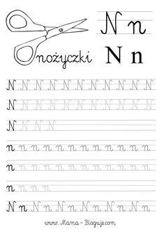 SZABLONY DO NAUKI PISANIA LITER - LITERKI M - Z Polish Language, Teacher Inspiration, Learn English Words, Cursive, Hand Lettering, Homeschool, Student, Letters, Learning