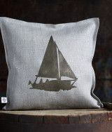 Decorative linen pillow cover with boat print