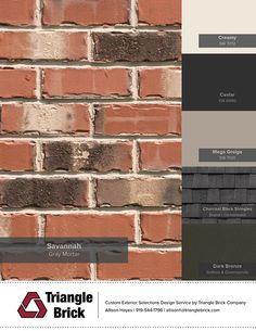 house exterior colors that go with orange brick House Exterior Color Schemes, Exterior Paint Colors For House, Paint Colors For Home, Exterior Colors, Exterior Shutters, Siding Colors, Roof Colors, Exterior Design, Colours