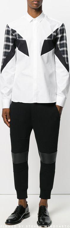 Neil Barrett - Plaid Panel Stripe Shirt #shirts