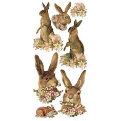 1 Sheet of Stickers Vintage Easter Hares with Flowers