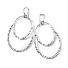 Ippolita Sterling Silver Oval Drop Diamond Earrings - Stella Collection