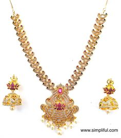 Goddess Lakshmi pendant n peacock stranded CZ stone Necklace and Earring set