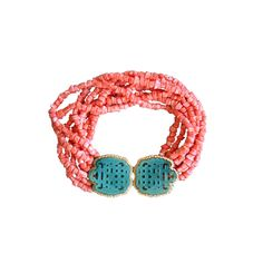 1STDIBS.COM Jewelry & Watches - Kenneth Jay Lane - 1960s KENNETH JAY LANE 'Jade' & 'Coral' Necklace - Vintage Fashion Inc