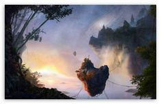 Floating islands create a dream world that relates to the theme of chill out music