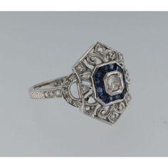 Catawiki Online-Auktionshaus: Weißgold-Ring im Art-déco-Stil mit Saphir und Diamanten im Brillantschliff