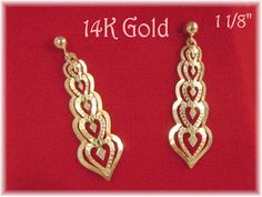 """14K Gold - Stacked Hearts Filigree 1 1/8"""" Victorian Heart Earrings - Gift Box - Perfect Christmas Gift -  FREE SHIPPING by FindMeTreasures on Etsy"""