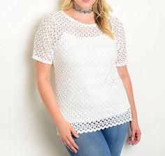 Stripe Lace Tunic Crochet Blouse Boxy Tonal Fashion Eyelet Top (Tank Included)…