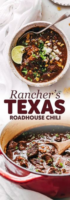 Rancher's Texas Chili (Chili con Carne) - Learn how to make texas chili or chili con carne! This is an easy recipe that uses chuck roast rather that ground beef and is so hearty and filling! recipes with ground beef Chilli Recipes, Beef Recipes, Mexican Food Recipes, Soup Recipes, Cooking Recipes, Chuck Roast Recipes, Texas Chilli Recipe, Meatless Recipes, Cooking Kale