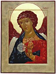 Raphael is a good icon to write as a wedding.  This archangel is only in the book of Tobias and is the angel of courtship and marriage.