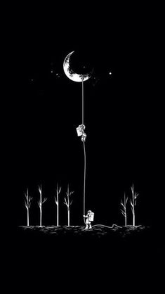 ↑↑TAP AND GET THE FREE APP! Art Creative Space Astronauts Moon Planet Earth Black White HD iPhone Wallpaper