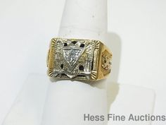 Massive Double Eagle Masonic Freemason 1961 Heavy Solid Gold Diamond Enamel Ring