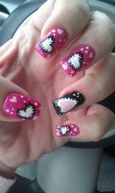Valentine's Day-themed acrylic nail art
