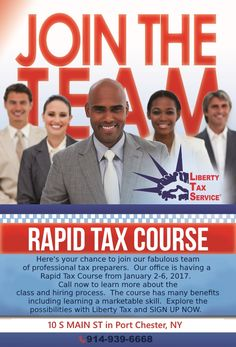 TheLiberty Tax office of Port Chester, NY is looking for you!Bright-minded, professionals are urged to apply. CALL 917-939-6668.(We alsoofferThe RAPID TAX COURSE for those new in the field. Completion of the course is neither a guarantee nor offer of employment.)