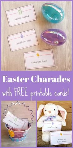 Enjoy family time with this FREE printable set of Easter Charade or Pictionary cards - word list for Easter or spring! A great multi-generational holiday activity for preschoolers, big kids and adults to play together before or after Easter dinner! Easter Games, Easter Activities, Holiday Activities, Activities For Kids, Charades Game, Free Printable Cards, Free Printables, Diy For Kids