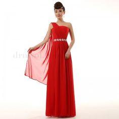 Chiffon One Shoulder Long Bridesmaid Dresses Color Red