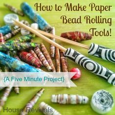 This article for appeared on House Revivals in May of If you love rolling paper beads -- or you just want to give it a try, here i. Paper Beads Tutorial, Paper Beads Template, Make Paper Beads, Paper Bead Jewelry, Fabric Jewelry, How To Make Paper, How To Make Beads, Bead Crafts, Jewelry Crafts