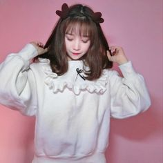 """White students fleece pullover   Coupon code """"cutekawaii"""" for 10% off"""
