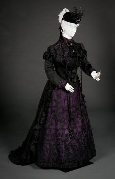 Half mourning dress, FIDM, 1897-1899