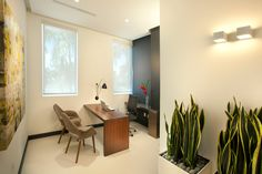 Miami Interior Designers from DKOR Interiors doing a Miami Modern Scandinavian inspired project for a doctor's office located in Aventura, FL Charcoal painted wall Wall sconces Walnut wood desk top Contemporary Office Miami Commercial interior design project www.dkorinteriors.com