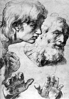 Classic charcoal drawing by Raffaello Sanzio de Urbino or better known simply as Raphael.