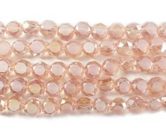 Pink glass faceted coin beads (6mm) at GIFTSJOY.COM