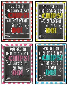 Teacher Appreciation Gift Tag - You Are All That And A Bag Of Chips! We Appreciate All You Dew! - Printable - Instant Download by Pinkowlpartydesign on Etsy https://www.etsy.com/listing/230605451/teacher-appreciation-gift-tag-you-are