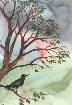 Original Bird Watercolor Painting   Autumn is by bluedogrose, $48.00