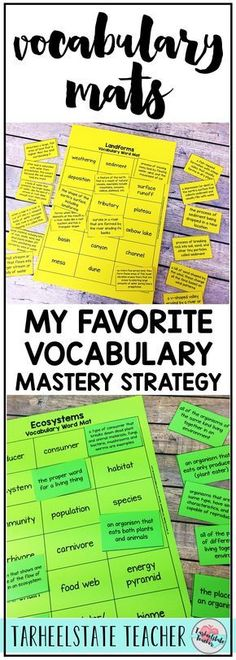 Vocabulary mastery in the content areas is very important to students' success with the domain. Your graders will love using the vocabulary mats/vocabulary cards to learn their SS terms! Vocabulary Strategies, Vocabulary Instruction, Science Vocabulary, Vocabulary Building, Teaching Strategies, Teaching Vocabulary Activities, Vocabulary Ideas, Listening Activities, Spelling Activities