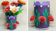 How to Make Flower Vase with Paper Paper Flower Vase, Flower Vases, Diy Paper, Paper Crafts, Flower Making, Diy Flowers, Planter Pots, How To Make, Decor