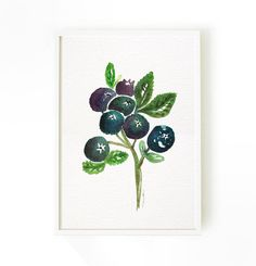 Blueberries Print Kitchen Art Blueberry Watercolor Painting Fruit Print Home Decor Wall