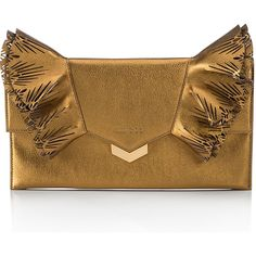 Jimmy Choo Isabella Laser-Cut Ruffled Clutch Bag (3.760 BRL) ❤ liked on Polyvore featuring bags, handbags, clutches, gold, metallic clutches, laser-cut handbags, metallic handbags, jimmy choo and jimmy choo purses