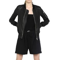 evaChic |  This Rick Owens Bomber Leather Jacket directly references the classic MA-1 flight jacket, infusing it with a polished twist. Crafted from pure lamb leather, it offers supple texture and a sleek feel on an edgy style. The functional pockets and zip front closure make it convenient, while the finishing touches on hardware make it high-end and cool!       http://www.evachic.com/product/rick-owens-bomber-leather-jacket/