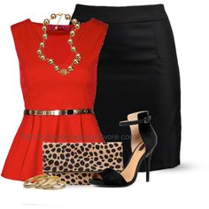 """Belted Peplum Top"" by uniqueimage on Polyvore"