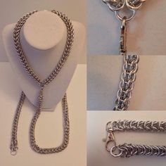 Full Persian Bright Aluminum Collar / Choker & Box Weave Leash - Nickel Free Steel Silver Kink Fetish Chainmail Maile Metal by JohnsChainmailShop from John's Chainmail Shop. Find it now at http://ift.tt/2i0vswM!