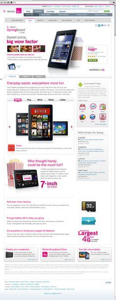 T-Mobile Tablet Website Series by Bryan Hall, via Behance