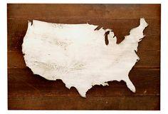 "40"" Wooden US Rustic Map, Natural/White on OneKingsLane.com"