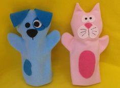 titere manopla perro + gato bebés niños