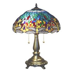 47c18a794ee8 Tiffany-style Yellow Dragonfly Table Lamp