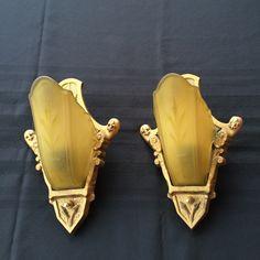 "Art Deco Slip Shade Sconces 1930""s Amber/Yellow Glass Shades Cast Metal Mounts Pair"