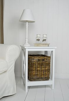 Henley white lamp table from The White Lighthouse living room furniture