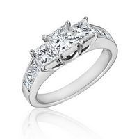 REEDS Princess Collection Three-Stone Diamond Ring 2ctw