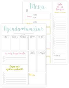 Imprimibles – Agenda y menú   Repostería creativa y Tienda online