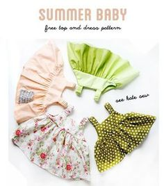 Free sewing pattern for summer baby dress size months- see kate sew Baby Summer Dresses, Summer Dress Patterns, Baby Dress Patterns, Sewing Patterns Free, Free Sewing, Sewing Tutorials, Free Pattern, Baby Dresses, Top Pattern