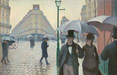 """Gustave Caillebotte, """"Paris Street; Rainy Day 1877″/ Public Domain"""