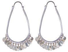 Sterling Silver Medium Oval Hoop Earrings with Lotus Petals
