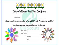 Daisy Investiture Certficate - A Mindful Momma: Girl Scouts